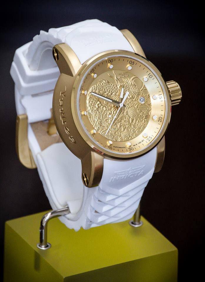 d520a960973 ... Imagem 1  Relógio Invicta S1 Yakuza 19546 Branco Original Banhado Ouro  18k 48mm - Imagem 2 ...