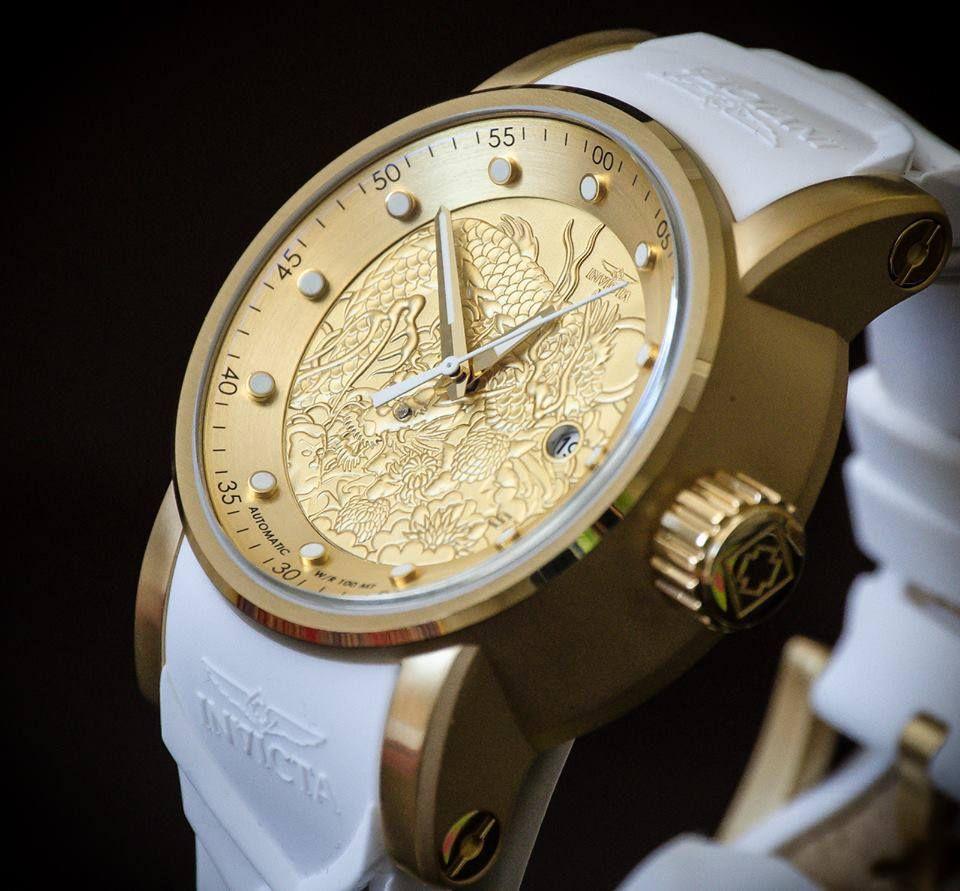 bd885e4d738 ... Relógio Invicta S1 Yakuza 19546 Branco Original Banhado Ouro 18k 48mm -  Imagem 4 ...