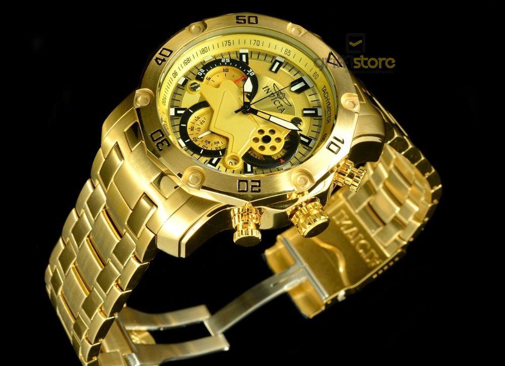 1216d467bb3 ... Relógio Invicta Pro Diver 22761 Banhado Ouro 18k Cronografo 50mm -  Imagem 3 ...