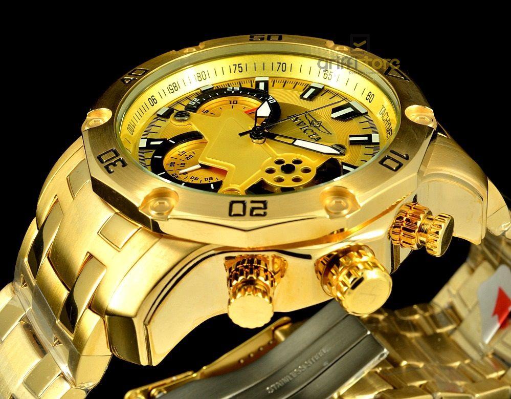 a092b8b6e13 ... Relógio Invicta Pro Diver 22761 Banhado Ouro 18k Cronografo 50mm -  Imagem 5