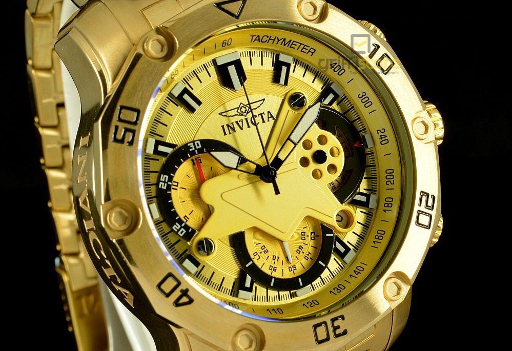 0c24ef62216 ... Relógio Invicta Pro Diver 22761 Banhado Ouro 18k Cronografo 50mm -  Imagem 2 ...