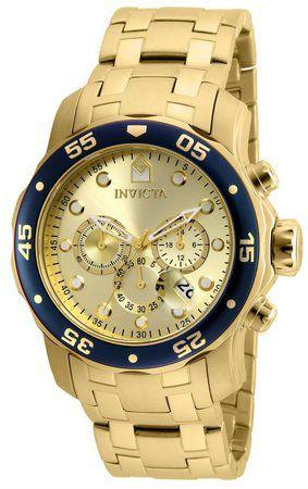76f0d0feacb Relógio Invicta Pro Diver 80068 Banhado Ouro 18k Cronografo 48mm Dourado