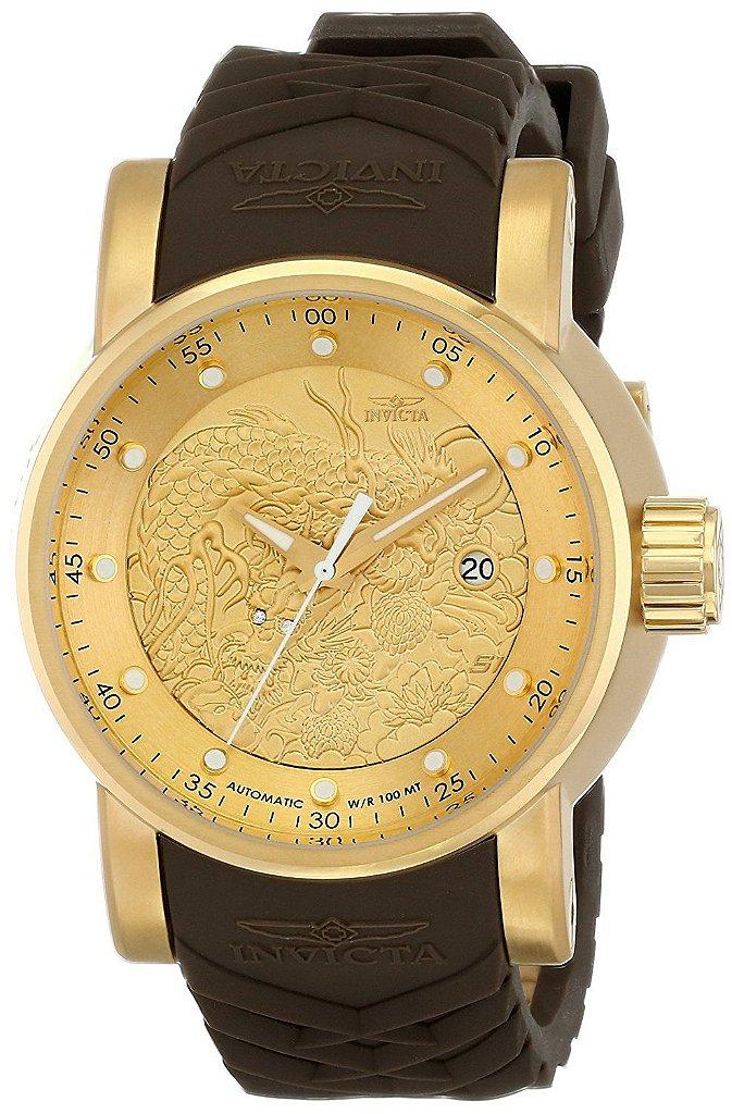 c87c3cd261b Relógio Invicta S1 Yakuza 12790 Banhado Ouro 18k Automático 48mm NH35A