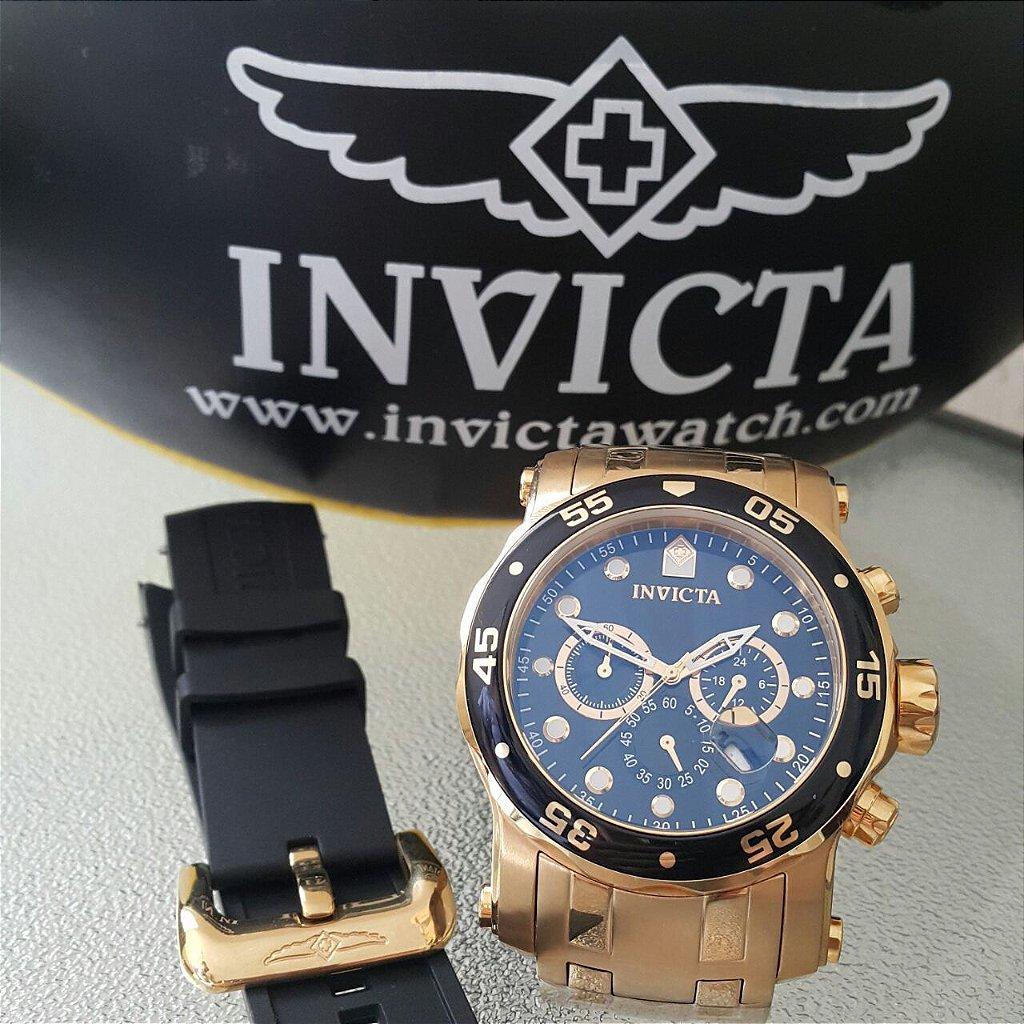 ff454c56800 ... Relógio Invicta Pro Diver 23650 Troca Pulseira Banhado Ouro Cronografo  - Imagem 4