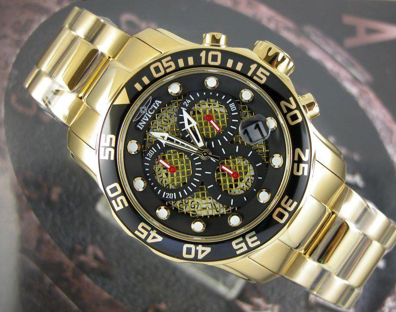 b9b54e7fb35 ... Relógio Invicta Pro Diver 19837 Banhado Ouro 18k Cronografo 48mm -  Imagem 3 ...