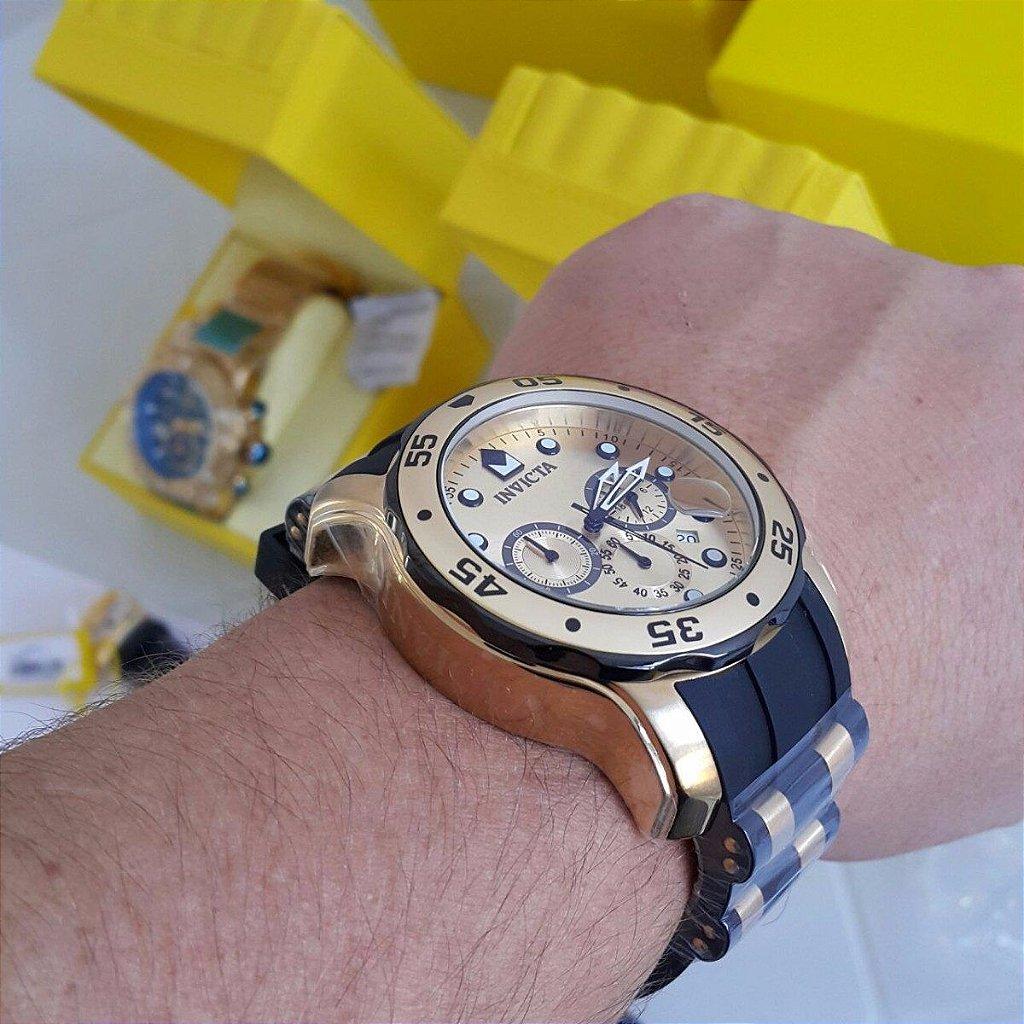 c9a7fa3ea0d ... Relógio Invicta Pro Diver 17885 Cronografo 48mm Banhado Ouro 18k -  Imagem 3 ...