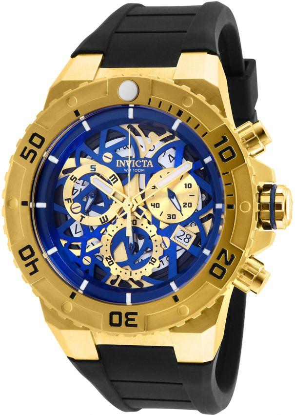 0a1059694a1 Relógio Invicta Pro Diver 26071 Skeleton Cronografo 51.5mm Banhado Ouro 18k