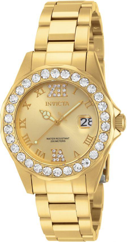 9be92a20162 Relógio Invicta Pro Diver Lady 15252 Banhado Ouro 18k 38mm Crystal