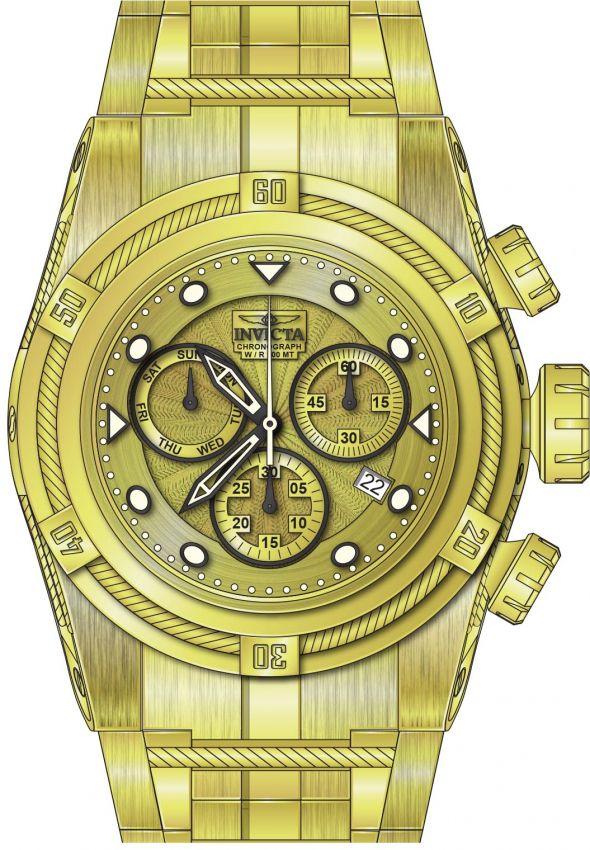 69e91f5c031 ... Relógio Invicta Bolt Zeus 23911 Banhado Ouro 18k 53mm Calendário Duplo  - Imagem 3 ...