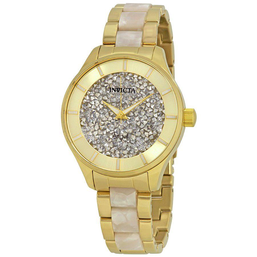 6067251ebbd Relógio Invicta Feminino Angel 2466 Lady 40mm Banhado Ouro 18k ...