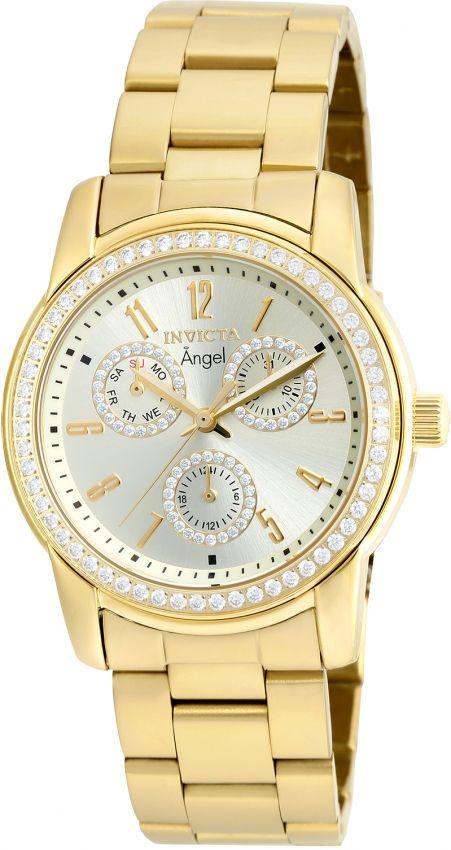 3231b37345e Relógio Invicta Feminino Angel 18990 Banhado Ouro 18k Zirconias 38mm ...
