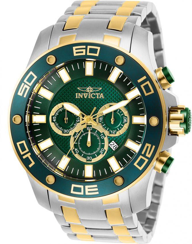 a416903841 Relógio Invicta Pro Diver 26083 Aço Inoxidável 50mm Detalhes Dourados  Cronografo