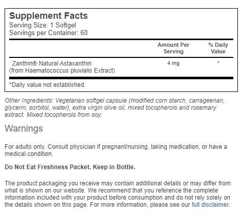 Astaxantina Now Foods 4mg