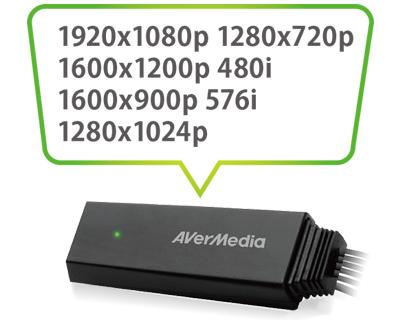 Compatibilidade com várias resoluções conversor RCA para HDMI AVerMedia