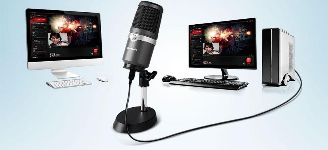 Gravação de áudio profissional com microfone plug-and-play am310 avermedia