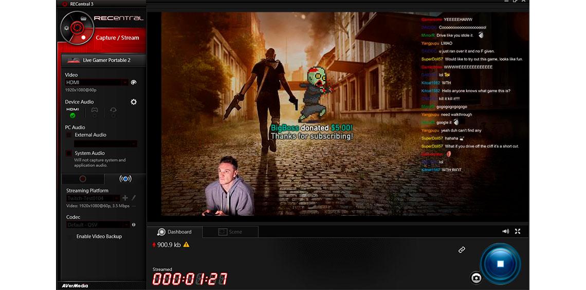 Elementos interativos na tela AVerMedia RECentral