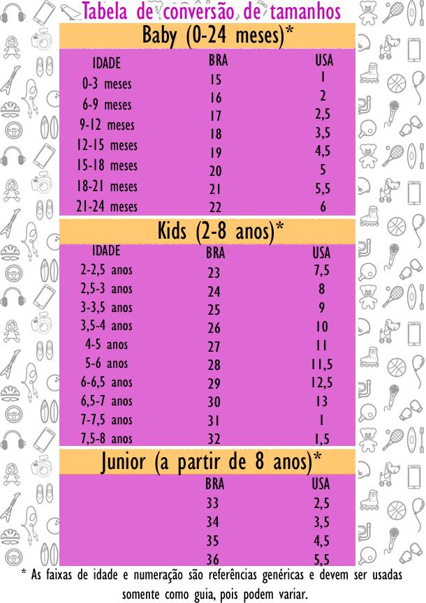 83266b228 Tabela de tamanhos - Bad Kid Calçados e Acessórios Infantis