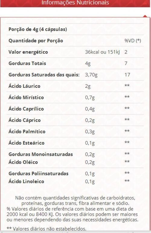 Tabela Nutricional Óleo de Coco Vitafor