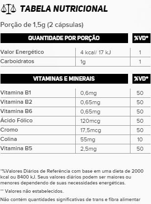 Tabela Nutricional Thermo 300mg New Millen