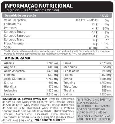 Tabela Nutricional 4 Whey Tech Atlhetica Nutrition