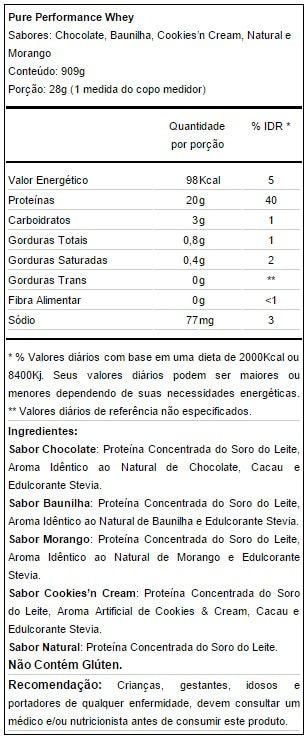 Tabela Nutricional Puro Performance Whey