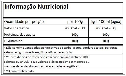 Tabela Nutricional Glutamina Muscle Pharm