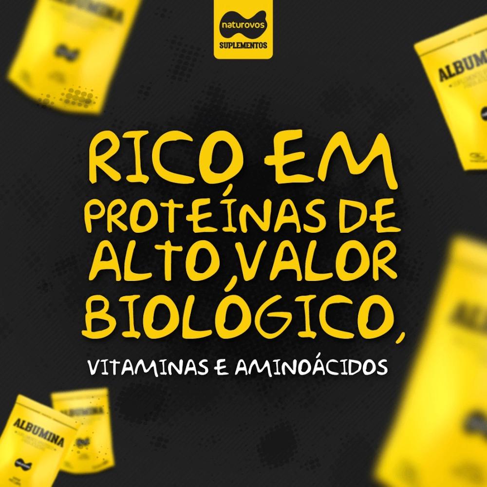 Albumina Naturovos é rica em proteínas de alto valor biológico, têm vitaminas e aminoácidos