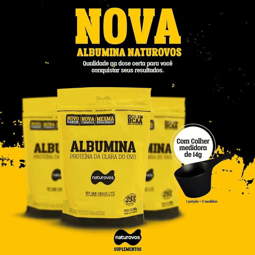 Albumina Naturovos agora em nova embalagem e scoop