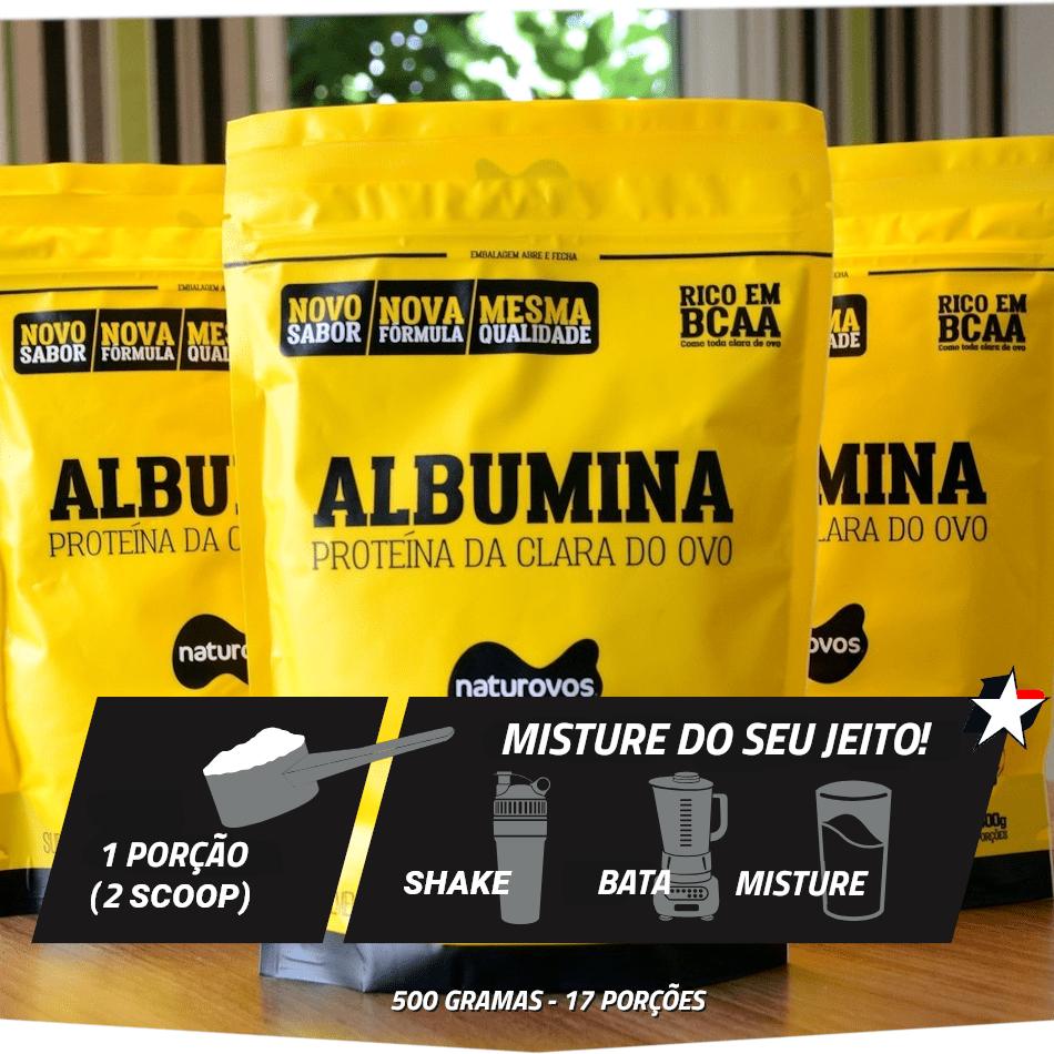 Albumina Naturovos em sachê de 500 gramas, rende 17 porções