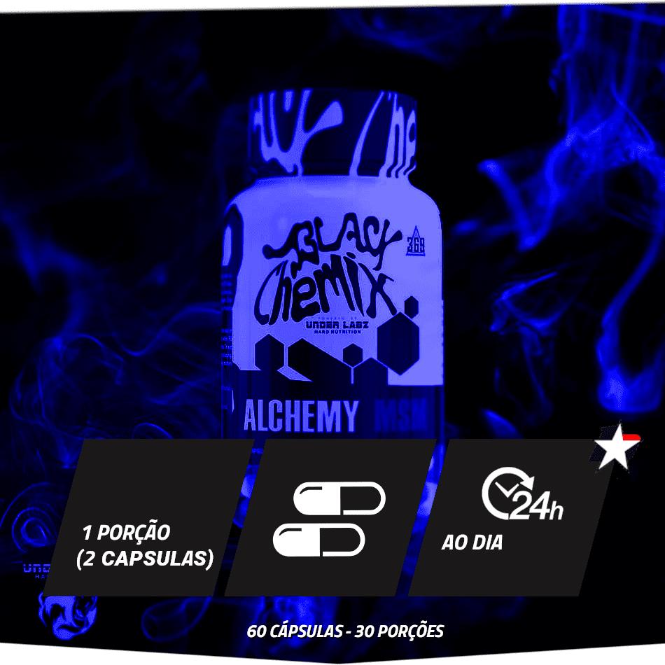 alchemy msm da black chemix under labz vem em frasco com 60 cápsulas e rende 30 porções