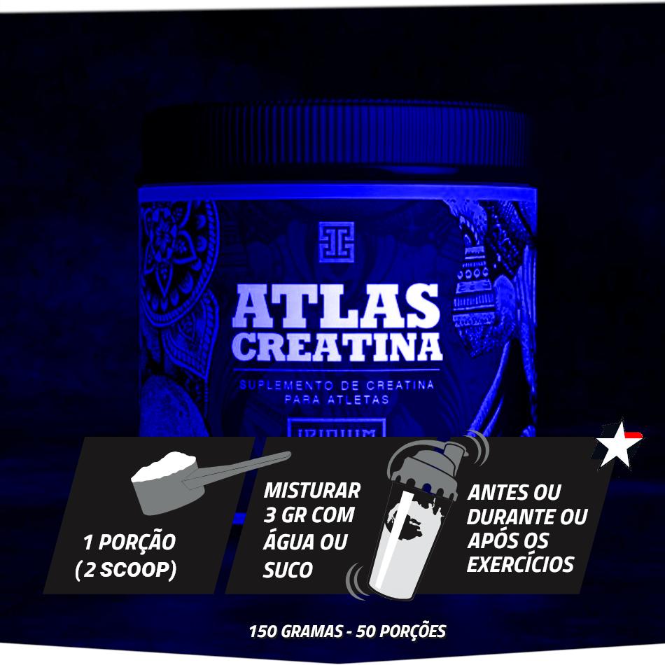 atlas creatina iridium labs vem em frasco com 150 gramas e rende 50 porções