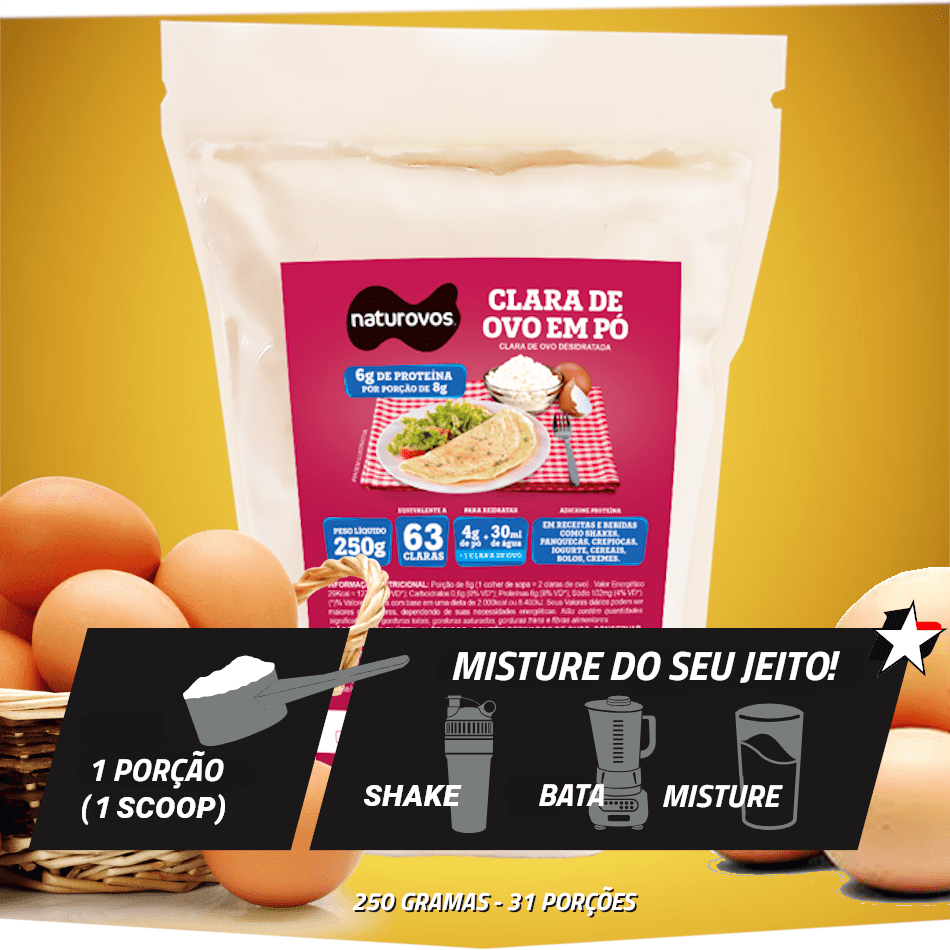 Clara de ovo em pó Naturovos vem em sachê de 250 gramas e rende até 31 porções