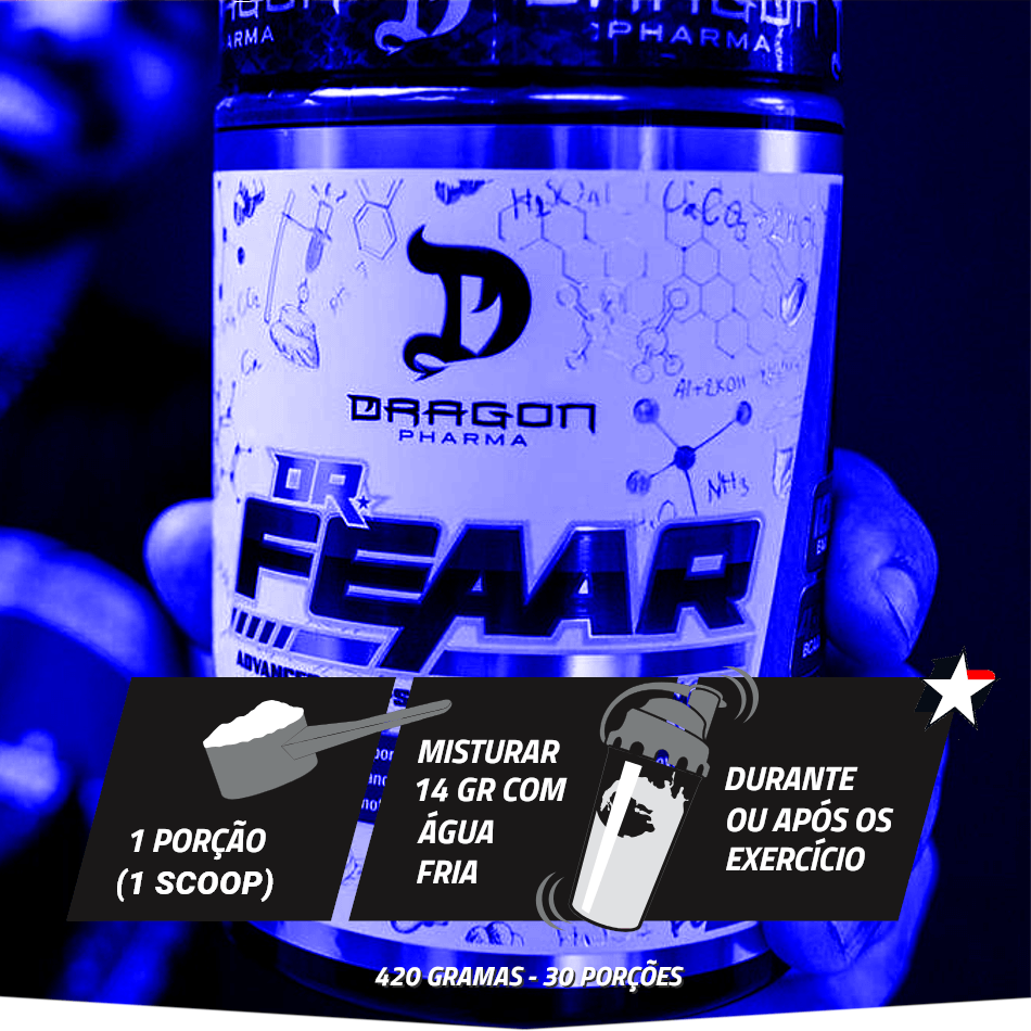 dr feaar dragon pharma vem em pote com 420 gramas e rende 30 porções
