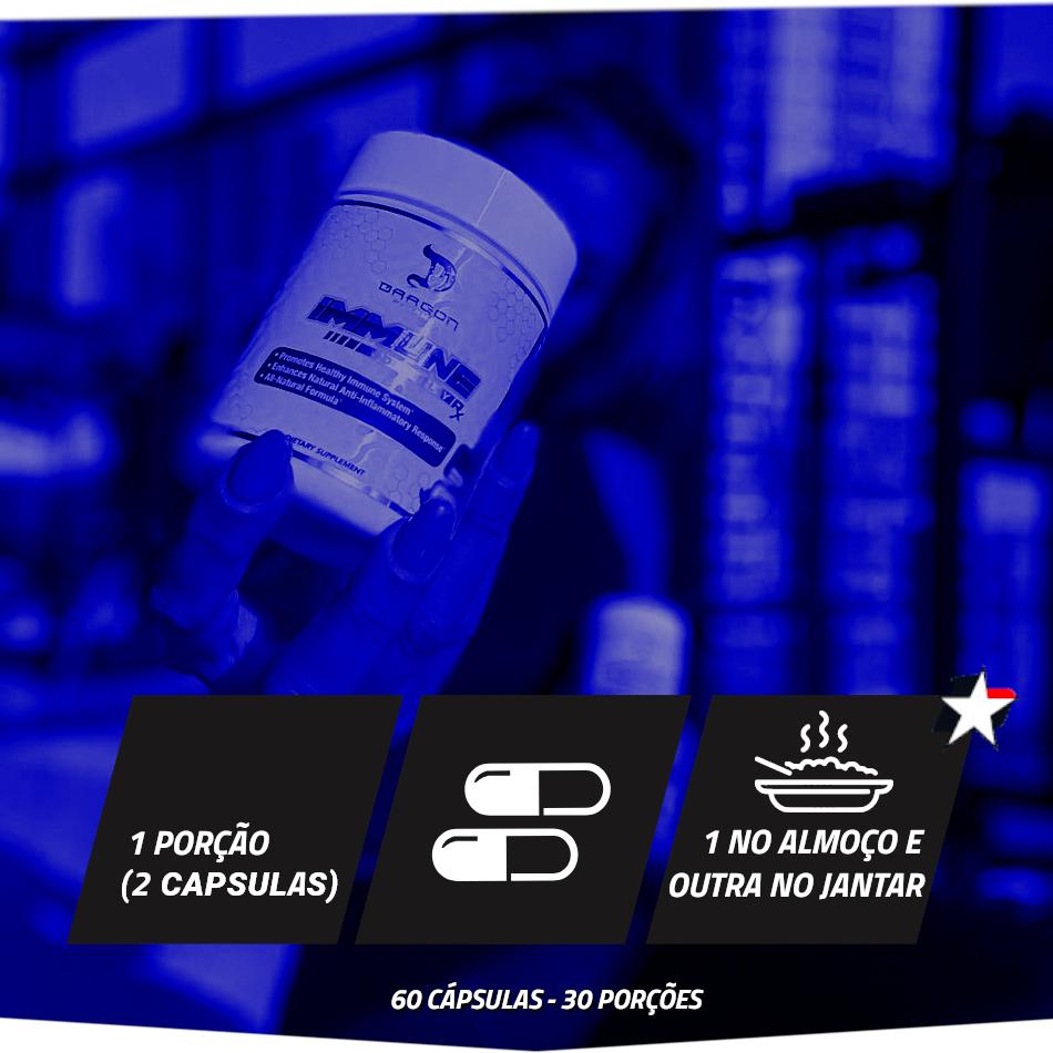 Immune RX Dragon Pharma vem em frasco com 60 cápsulas e rende 30 porções