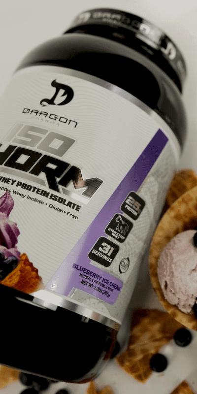 IsoPhorm whey dragon pharma contém níveis mais altos de aminoácidos anabólicos de leucina e gorduras mínimas ou lactose e sem adição de açúcar