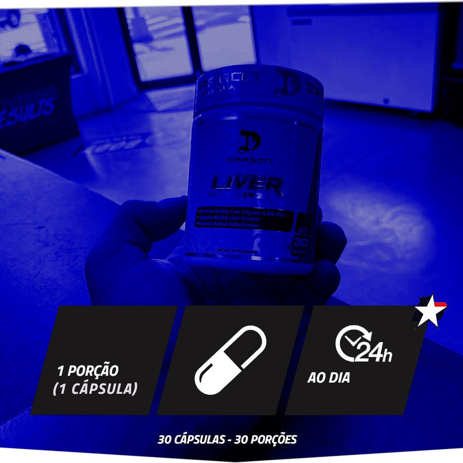 Liver RX Dragon Pharma vem em frasco com 30 cápsulas e rende 30 porções