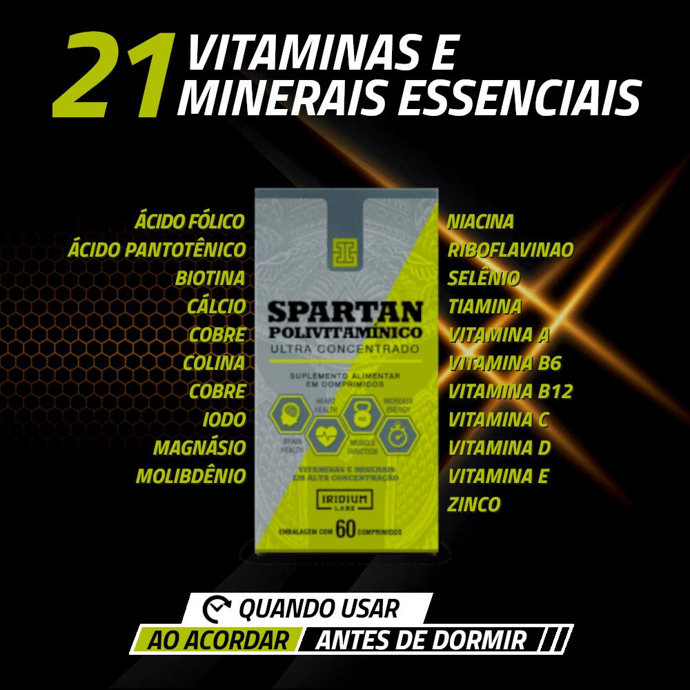spartan iridium labs contém 21 vitaminas e minerais essenciais