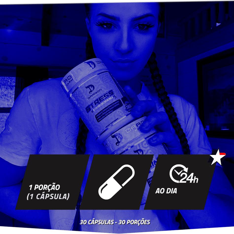 Stress RX Dragon Pharma vem em frasco com 30 cápsulas e rende 30 porções