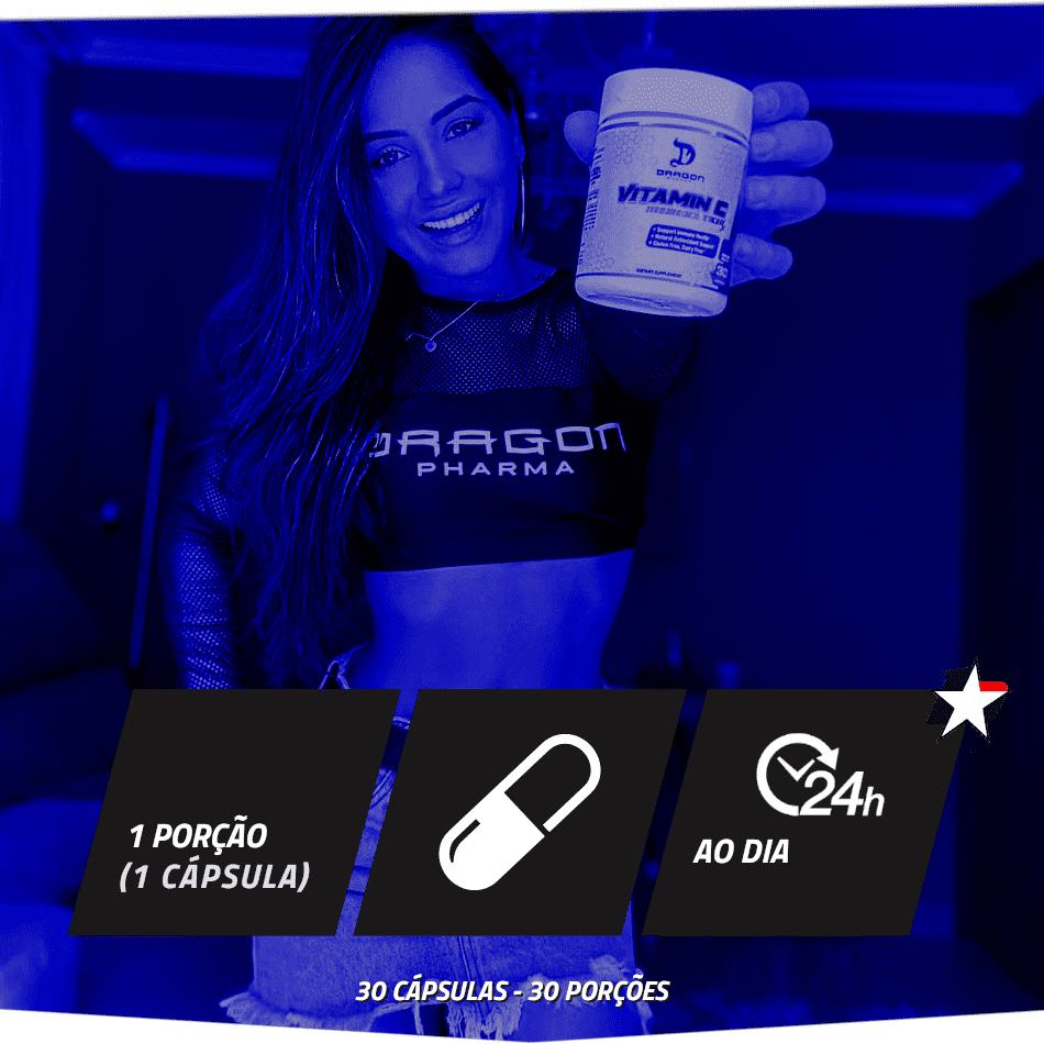 Vitamin C RX Dragon Pharma vem em frasco com 30 cápsulas e rende 30 porções