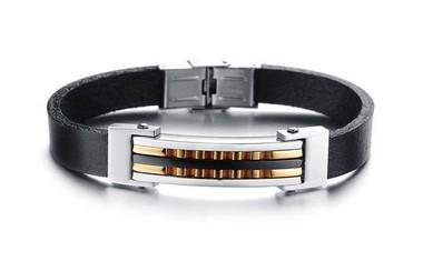 pulseira-masculina-de-couro-com-filete-em-titanio-e-banho-de-ouro
