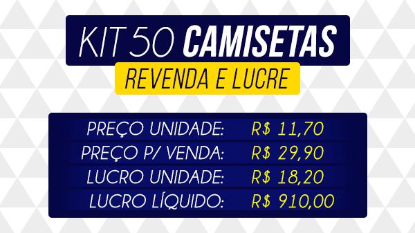 3c231214ff DESCRIÇÃO KIT COM 50 CAMISETAS MASCULINAS