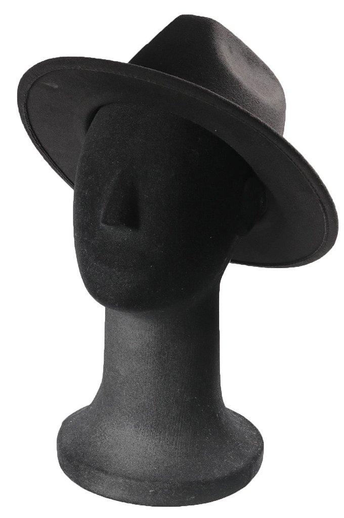 ... Chapéu Fedora Preto Aba Reta 7cm Faixa Preta Clássico - Imagem 4 ... 5c6db6306cc