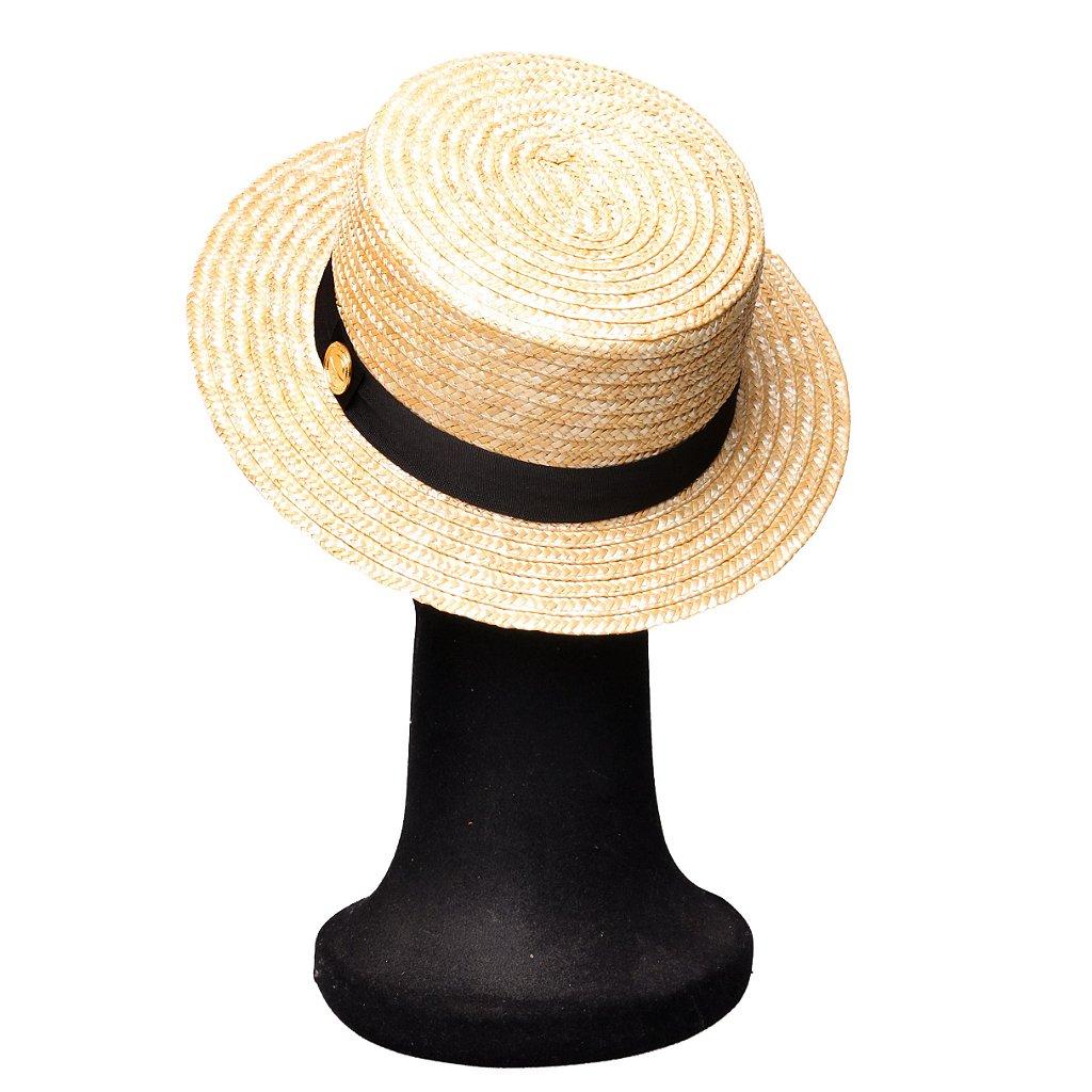 e22d81e5ed5a0 ... Chapéu Palha Dourada Palheta Aba Média 5cm Faixa Gorgurão Preta -  Imagem 3