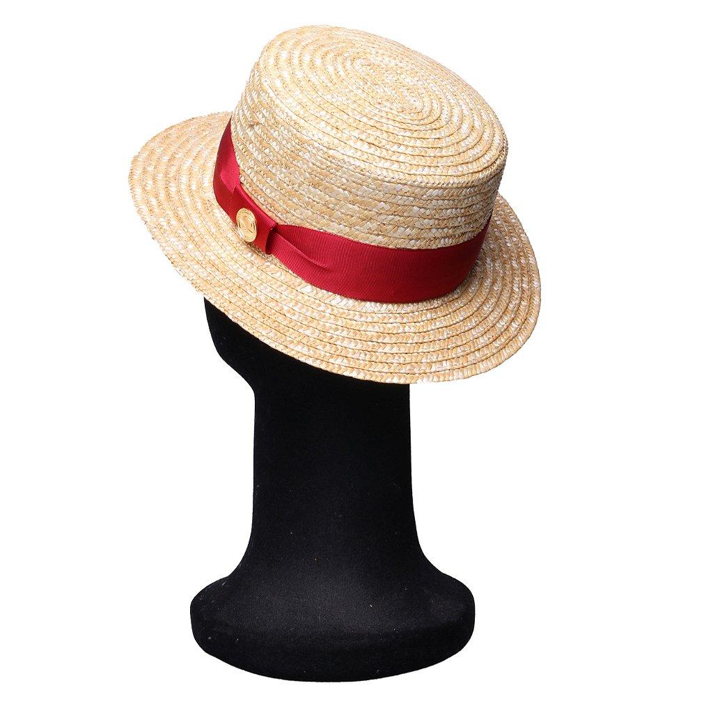 37205c700ece6 ... Chapéu Palha Dourada Palheta Aba Média 5cm Faixa Gorgurão Vermelho -  Imagem 3