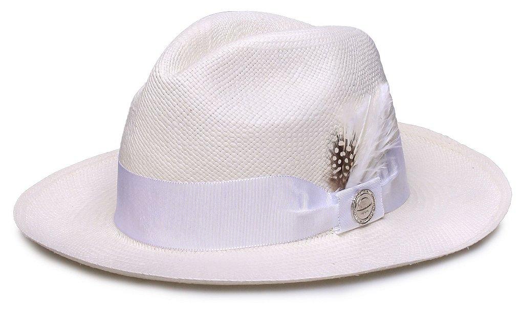 Chapéu Panamá Faixa Gorgurão Branca Penas - Compre com quem é ... bcf240f0332