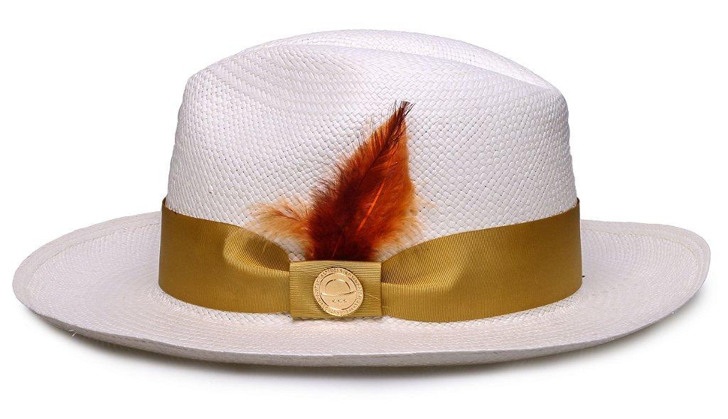 Chapéu Panamá Faixa Gorgurão Dourada Penas Coloridas - Compre com ... 757972c809f