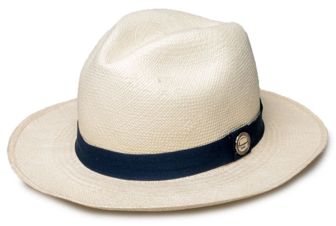 Chapéu Panamá Palha Natural Faixa Azul Marinho - Compre com quem é ... fd38477b509