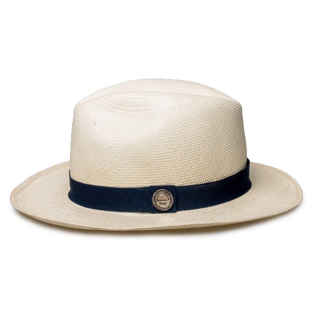 1aab6a6d27688 Chapéu Panamá Palha Natural Faixa Azul Marinho - Compre com quem é ...