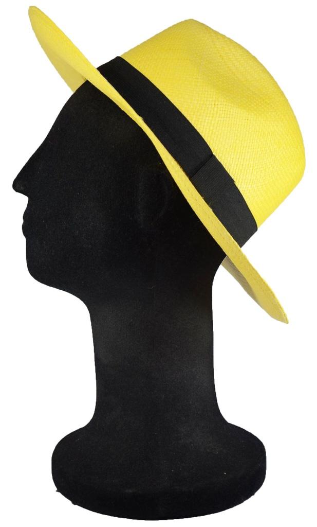 035a61257bd0a ... Chapéu Panamá Colorido Amarelo Aba Média Palha Toquilla - Imagem 2 ...