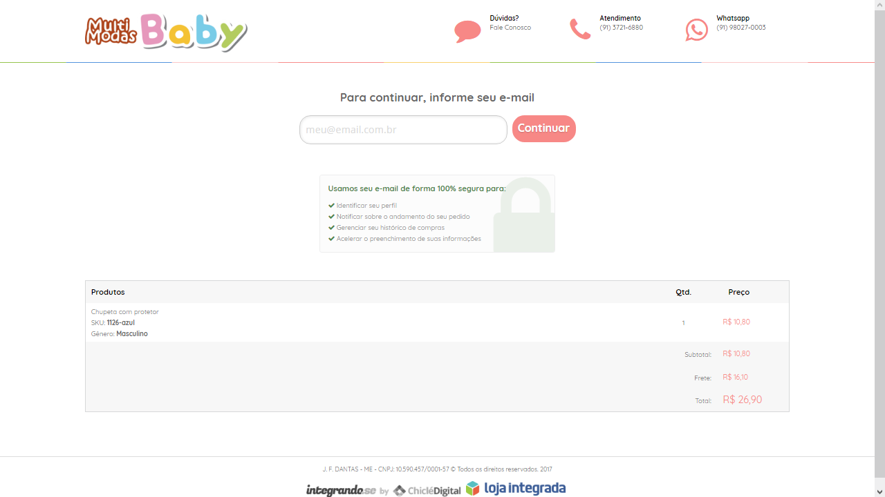 790ba30234 Como realizar compra no site  - Multi Modas Baby